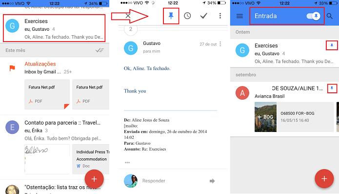 Utilizando marcadores no Inbox by Gmail (Foto: Aline Jesus/Reprodução)