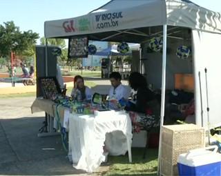 Estande da TV Rio Sul, em comemoração a semana do Meio Ambiente (Foto: Reprodução: RJTV 2ª Edição)