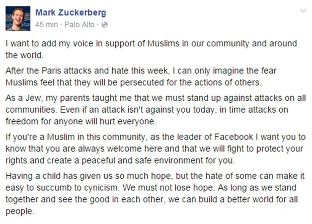 Mark Zuckerberg, cofundador do Facebook, publicou mensagem de apoio a muçulmanos na rede social (Foto: Reprodução/Facebook/Mark Zuckerberg)