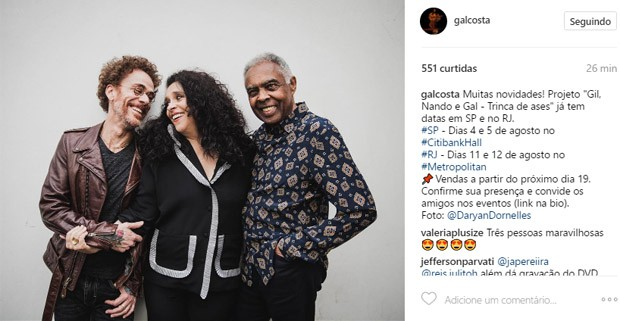 Nando Reis, Gal Costa e Gilberto Gil (Foto: Reprodução/Instagram)