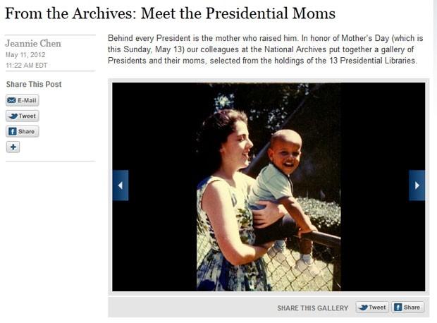 Obama aparece quando criança ao lado de sua mãe Stanley Ann Dunham (Foto: Reprodução)