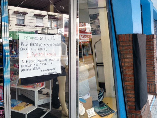 Lojas abriram com faixas pretas em sinal de luto em Santa Maria (Foto: Montagem sobre fotos de Iara Lemos/G1)