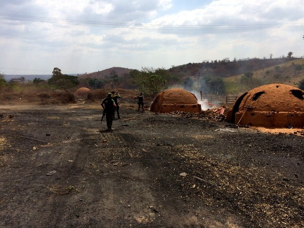 Serraria usava fornos a carvão já inutilizados pelo Ibama (Foto: Divulgação / Ibama)
