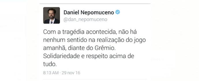 Twitter do presidente Daniel Nepomuceno sobre a tragédia com a Chapecoense (Foto: Reprodução / Twitter)