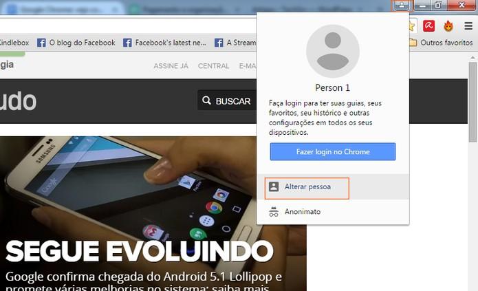 Acesse o recurso de perfil do Google Chrome (Foto: Reprodução/Barbara Mannara)