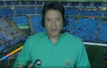 Jornalistas fazem homenagem à Chape com camisa verde e escudo