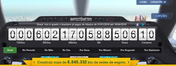 Brasileiros já pagaram mais de R$ 600 mil de impostos neste ano. (Foto: Reprodução/Impostômetro)
