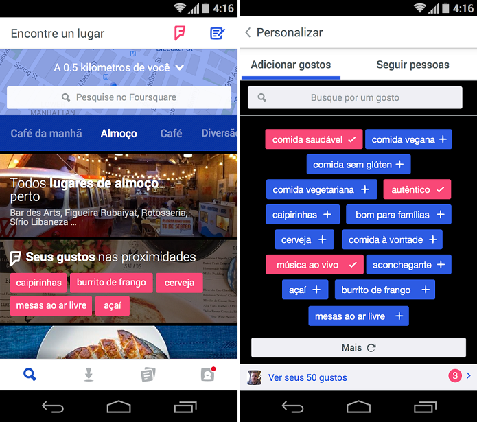 Foursquare é um app de recomendações (Foto: Divulgação/Foursquare)