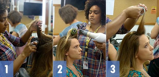 Passo a passo do cabelo de Shirley (Foto: Em Família/TV Globo)
