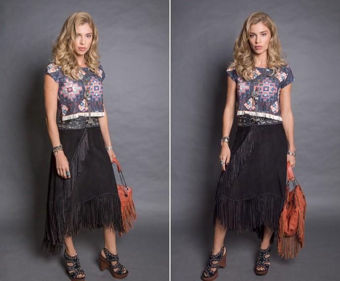 Combinação de franjas na saia e na bolsa (Foto: TV Globo)
