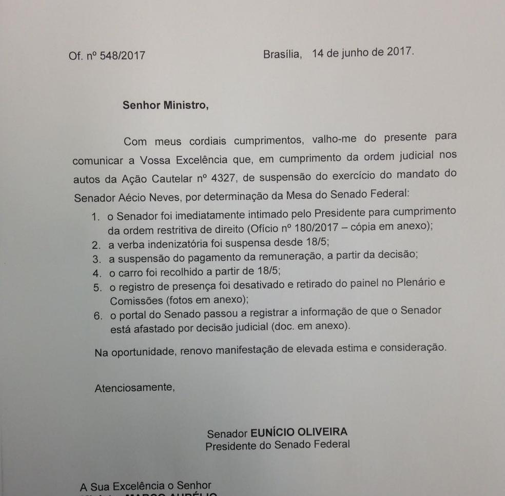 Ofício de Eunício enviado a Marco Aurélio Mello (Foto: Reprodução/Senado)