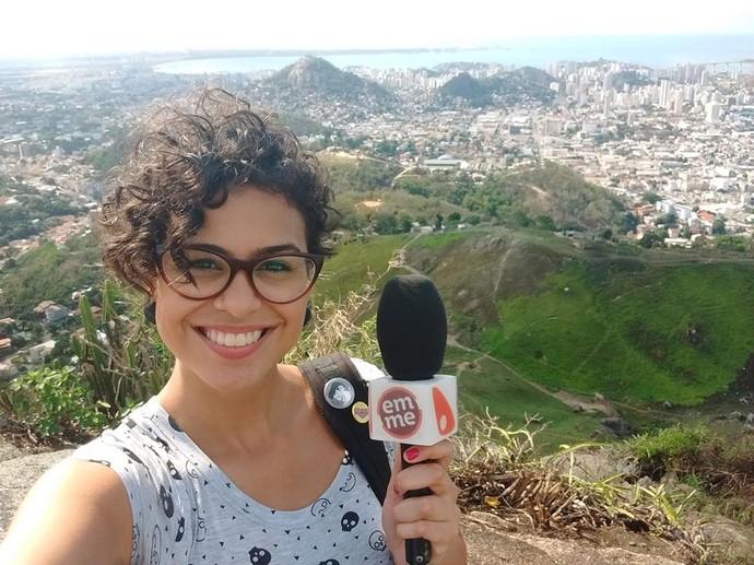Aline durante gravação para o 'EMME', matéria vai ao ar em breve (Foto: Divulgação / TV Gazeta ES)