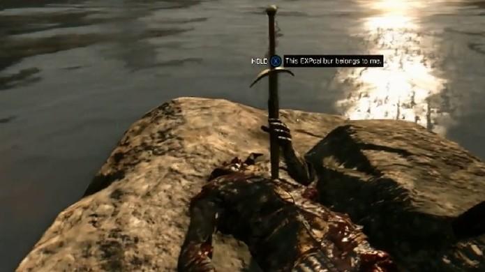 Espada EXPcalibur repousa em uma pedra como na lenda. Exceto pelos zumbis, é claro (Foto: ENTweak)