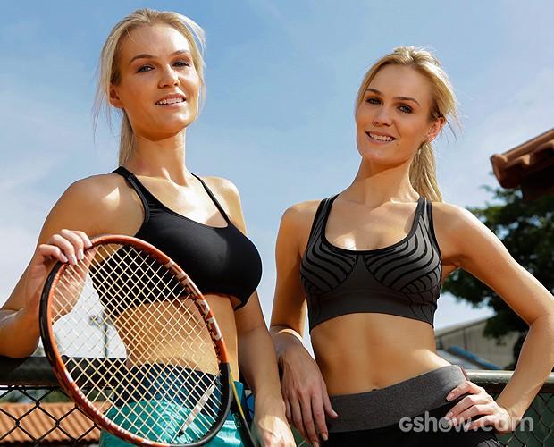Lindas, as gêmeas posam em uma quadra de tênis (Foto: Fábio Rocha/ TV Globo)