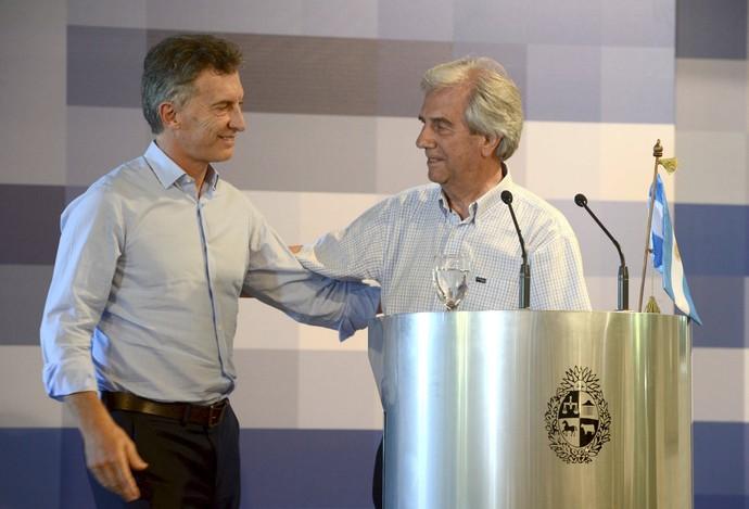 Mauricio Macri Tabaré Vázquez presidentes de Argentina e Uruguai (Foto: Reuters)