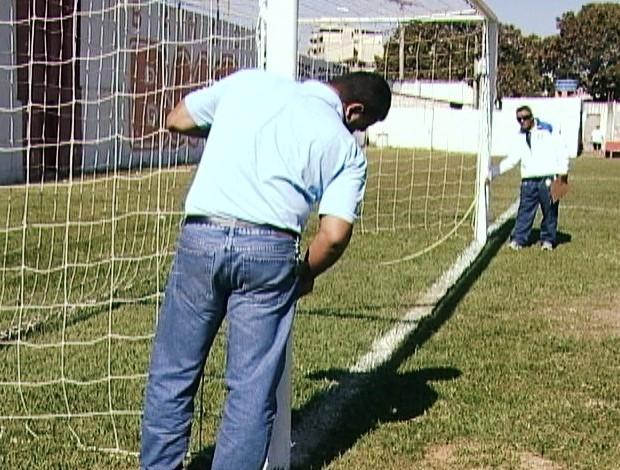 Vistoria do Farião pela Federação Mineira de Futebol (Foto: Reprodução/TV Integração)