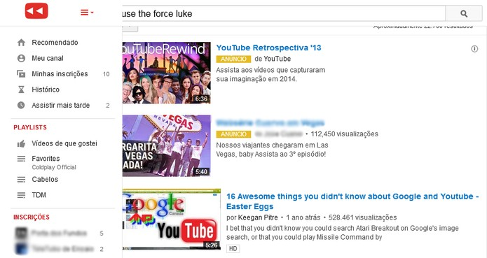 Use the force Luke é um dos eastereggs do YouTube (Foto: Reprodução/Carol Danelli)