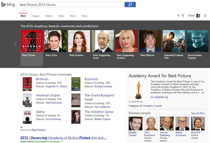 Bing acertou maior parte dos vencedores do Oscar (Foto: Reprodução/WinBeta)