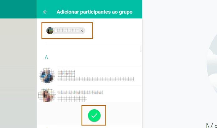 Selecione até 100 contatos no WhatsApp para adicionar no grupo pelo PC e conclua (Foto: Reprodução/Barbara Mannara)