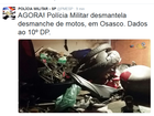 PM localiza desmanche de motos roubadas em Osasco