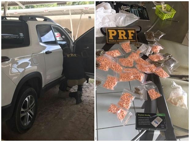 No RN, PRF prende três com carro roubado e mais de 220 mil em drogas (Foto: Divulgação/PRF-RN)