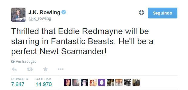 J.K. Rowling em sua conta no Twitter (Foto: Reprodução)