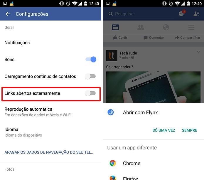 Usuário deve optar por abrir links externamente para desativar navegador do Facebook (Foto: Reprodução/Elson de Souza)
