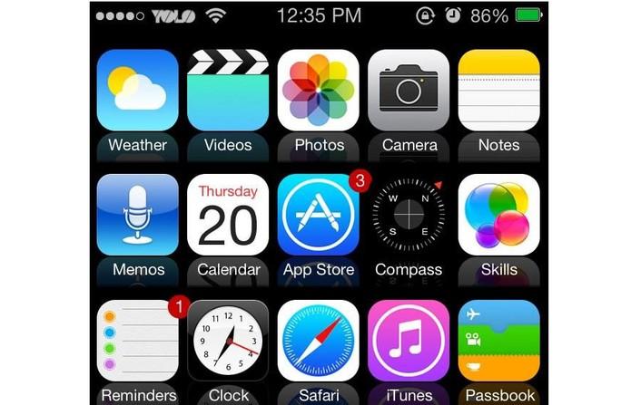 O layout do iPhone com cinco colunas, ao invés de quatro, após ter passado pelo Jailbreak (Foto: Reprodução)