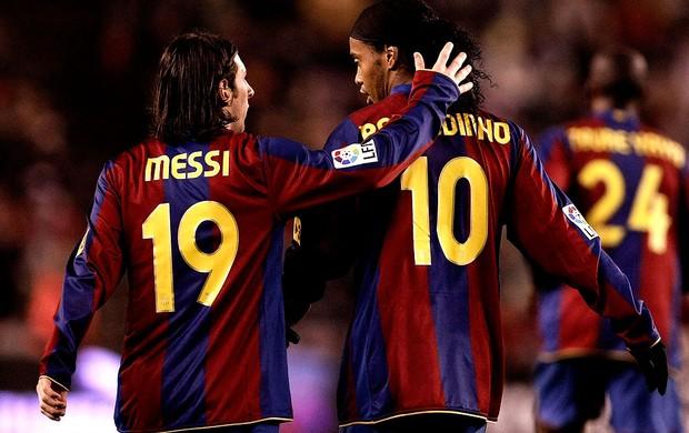 Ronaldinho gaucho messi barcelona (Foto: Agência Getty Images)