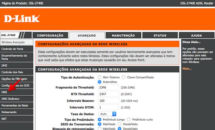 Acesse as configurações de DNS (Foto: Reprodução/Helito Bijora)