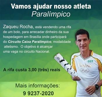 Zaqueu Rocha busca recursos para disputar Circuito Nacional Paralímpico (Foto: Zaqueu Rocha/arquivo pessoal)
