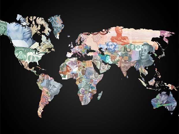 Montagem do mapa-múndi com cédulas de dinheiro (Foto: Reprodução)