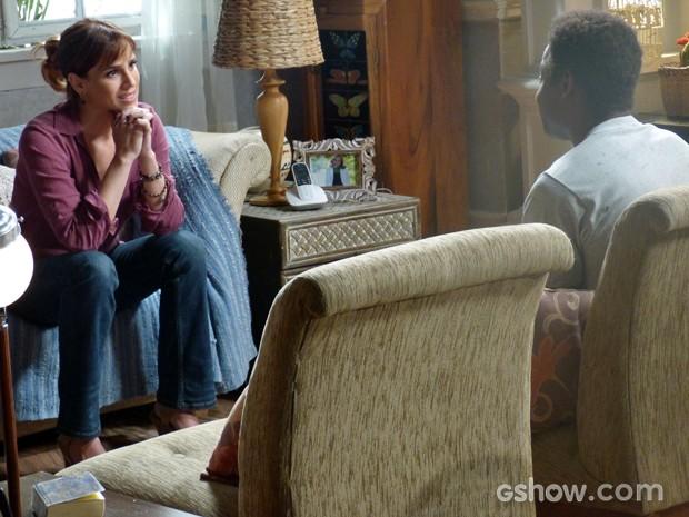A coordenadora se mostra radiante com a oportunidade que tem (Foto: Malhação / TV Globo)