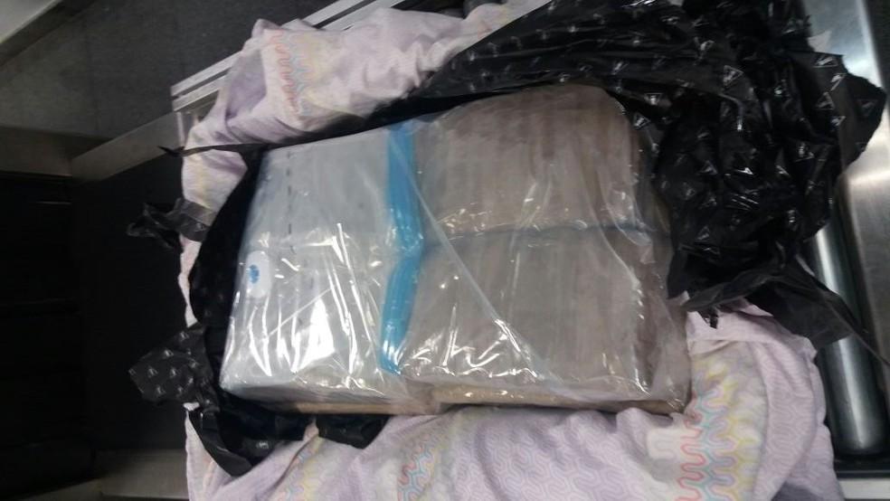 Droga encontrada em mala despachada por dupla no aeroporto de Santarém (Foto: Divulgação/Polícia Federal de Santarém)