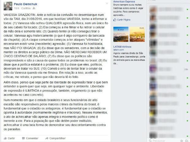 Advogado Paulo Demchuk falou sobre o tumulto em rede social (Foto: Reprodução)