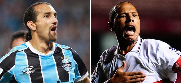 Montagem - Grêmio x São Paulo Barcos Luis Fabiano (Foto: Editoria de Arte)