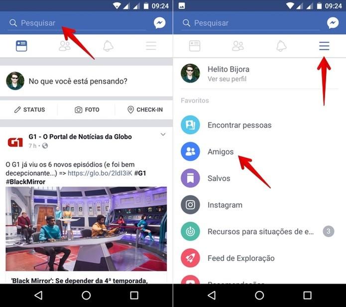 No Android, localize o perfil do amigo que você quer excluir do Facebook (Foto: Reprodução/Helito Bijora)
