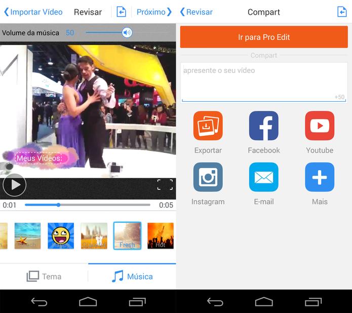 Seleção de tema e música no VivaVideo e compartilhamento (Foto: Reprodução/ Marcela Vaz)