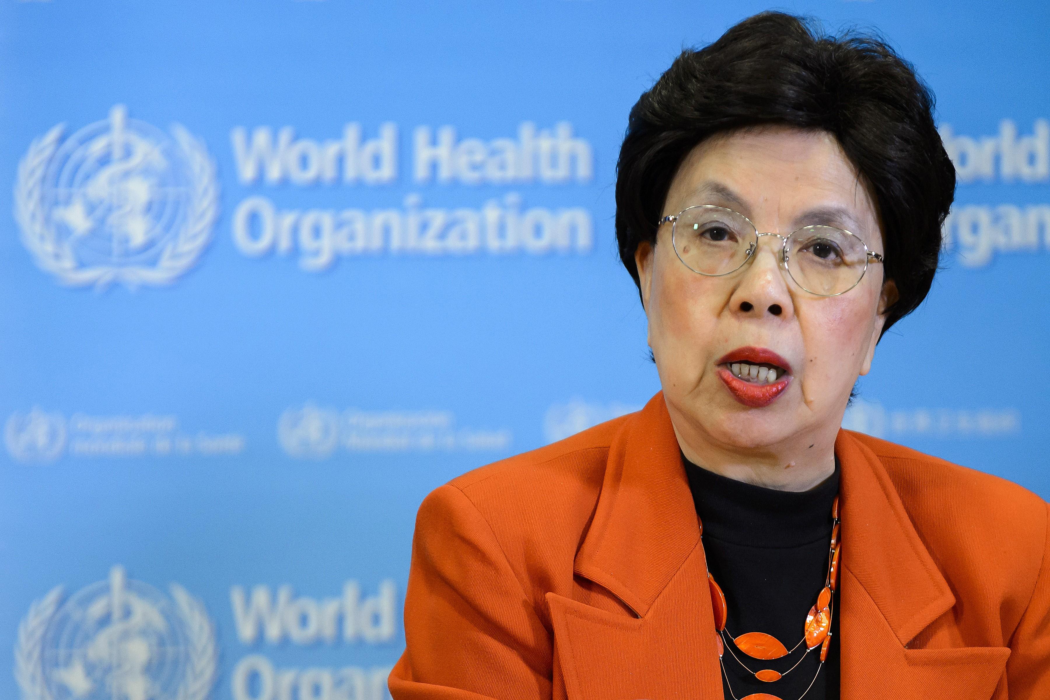 Margaret Chan, diretora-geral da OMS, fala a jornalistas nesta segunda-feira (1º), em Genebra (Foto: Fabrice Coffrinni/AFP)