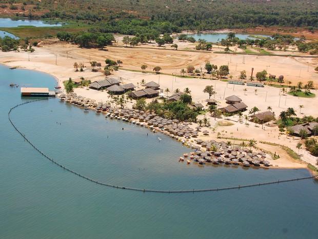 Vista aérea da Praia do Prata, em Palmas (Foto: Fernando Alves/Prefeitura de Palmas)