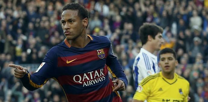 Comemoração Neymar - Barcelona x Real Sociedad (Foto: Reuters)