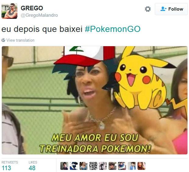 Inês Brasil é 'fantasiada' de Ash em um meme sobre jogo 'Pokémon Go' (Foto: Reprodução/Twitter/grego)