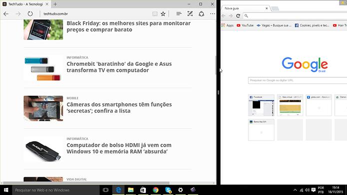 Windows 10 ganhou redimensionamento simultâneo entre aplicativos após Update 1 (Foto: Reprodução/Elson de Souza)