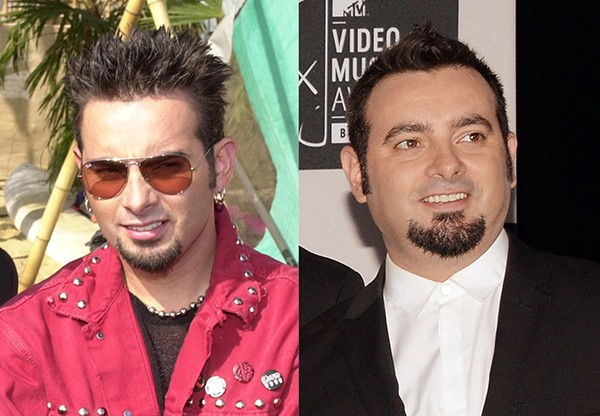 CHRIS KIRKPATRICK em 2000 e 2013 (Foto: Getty Images)