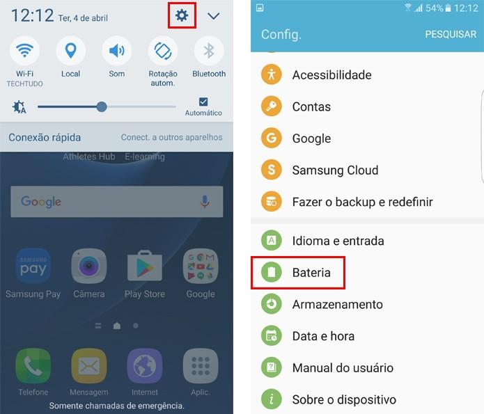 Acesse as configurações do Galaxy S7 (Foto: Reprodução/Aline Batista)