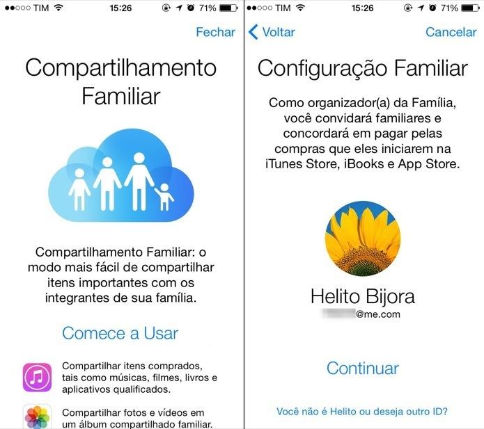 Configurando o Compartilhamento Familiar no iOS 8 (Foto: Reprodução/Helito Bijora)