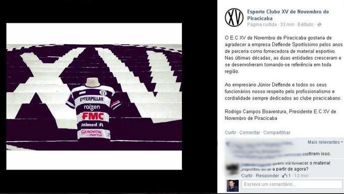 XV de Piracicaba Nhô Quim Material Esportivo Deffende Sportíssimo (Foto: Reprodução / Facebook)