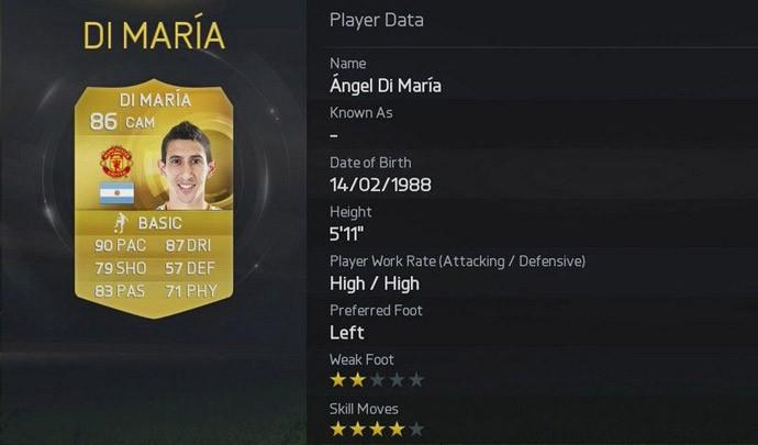 rating Di Maria no Fifa 15