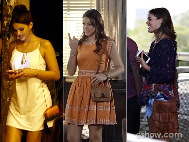 Luiza sempre escolheu a bolsa certa para combinar com seu look (Foto: INácio Moraes / Fábio Rocha / TV Globo)