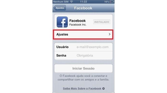 Ajustes do aplicativo no iPhone (Foto: Reprodução/Lívia Dâmaso)